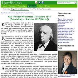 Biographie de Karl Theodor Weierstrass