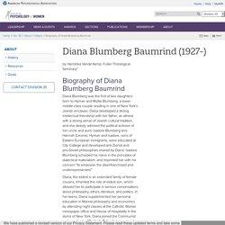 Biography of Diana Blumberg Baumrind