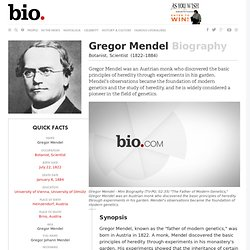 Gregor Mendel - Biography - Botanist, Scientist - Biography.com