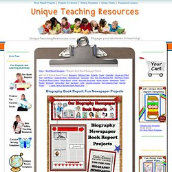 Biography Book Report Newspaper: templates, printable worksheets, and grading rubric