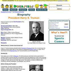 Biography of President Harry S. Truman for Kids