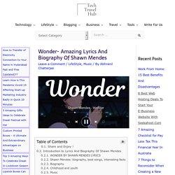 Wonder- Amazing Lyrics And Biography Of Shawn Mendes - TechTravelHub