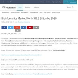 Bioinformatics Market Worth $13.3 Billion by 2020