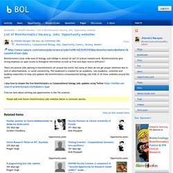 BOL: List of Bioinformatics Vacancy, Jobs, Opportunity websites