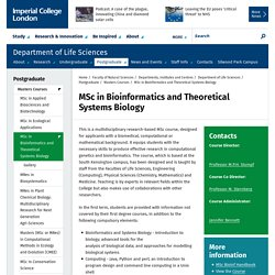 MSc in Bioinformatics and Theoretical Systems Biology