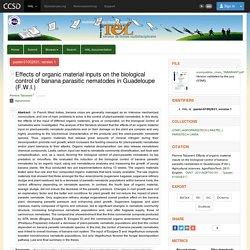 AGROPARISTECH - 2011 - Thèse en ligne : EFFETS D'APPORT DE MATIERES ORGANIQUES SUR LE CONTROLE BIOLOGIQUE DES NEMATODES PARASITES DU BANANIER EN GUADELOUPE