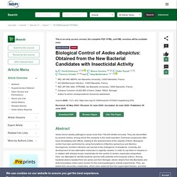 INSECTS 29/06/20 Biological Control of Aedes albopictus: Obtained from the New Bacterial Candidates with Insecticidal Activity