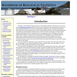 Handbook of Biological Statistics: Introduction