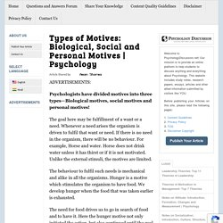 Types of Motives: Biological, Social and Personal Motives