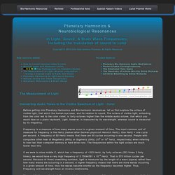 Planetary Harmonics & Neuro-biological Resonances