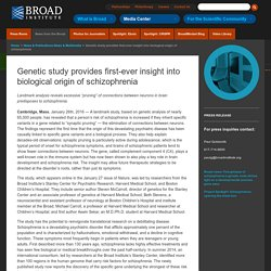 Genetic study provides first-ever insight into biological origin of schizophrenia