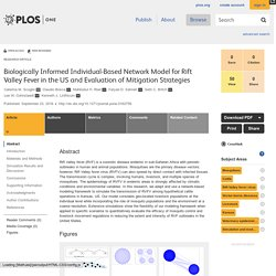 PLOS 23/09/16 Biologically Informed Individual-Based Network Model for Rift Valley Fever in the US and Evaluation of Mitigation Strategies