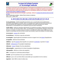 Lexique de biologie humaine et terminologie médicale