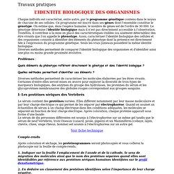 Travaux pratiques L'IDENTITE BIOLOGIQUE DES ORGANISMES