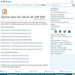 Quizizz pour les élèves de CAP APR - Sciences Biologiques et Sciences Sociales Appliquées (SBSSA)
