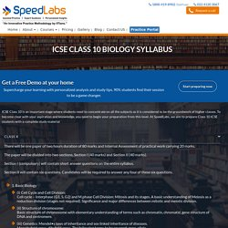 ICSE Class 10 Biology Syllabus: SpeedLabs
