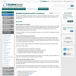 BioMed Central | BioMed Central author academy
