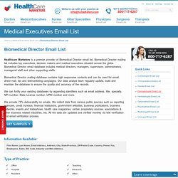 Biomedical Director Email List, Mailing Addresses and Database from Healthcare Marketers