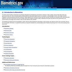 Biometrics.gov - Introduction to Biometrics