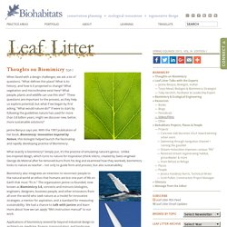 Biomimicry » Biomimicry » Leaf Litter Newsletter » Biohabitats Inc.
