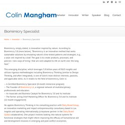 Biomimicry Specialist - Colin ManghamColin Mangham