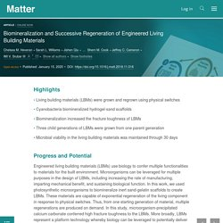 Biomineralization and Successive Regeneration of Engineered Living Building Materials: Matter