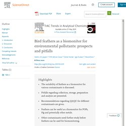 TrAC Trends in Analytical Chemistry Available online 27 May 2019 Bird feathers as a biomonitor for environmental pollutants: prospects and pitfalls