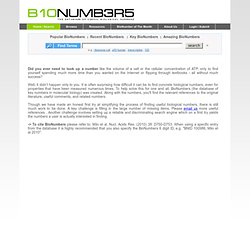 BioNumbers - The Database of Useful Biological Numbers