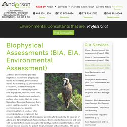 Ecology and Biophysical Impact Assessments – Anderson Environmental