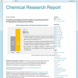 Chemical Research Report: Increasing packaging industry leads to a growing demand for Bioplastics & Biopolymers Market