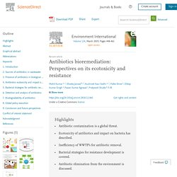 Environment International Volume 124, March 2019, Antibiotics bioremediation: Perspectives on its ecotoxicity and resistance