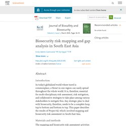 Journal of Biosafety and Biosecurity Volume 2, Issue 1, March 2020, Biosecurity risk mapping and gap analysis in South East Asia