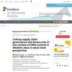 FRONT. VET. SCI. 20/04/18 Linking supply chain governance and biosecurity in the context of HPAI control in Western Java: A value chain perspective