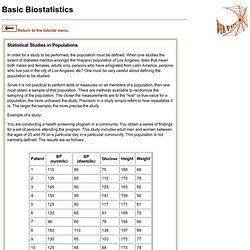 Biostatistics - Populations