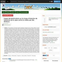 Université Bourgogne Franche-Comté - 2018 - Thèse en ligne : Impact de biostimulants sur le niveau d'induction de résistance de la vigne contre le mildiou par des éliciteurs