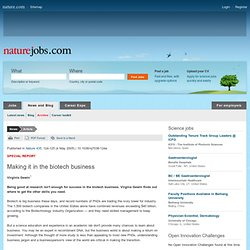 Naturejobs (2005): Making it in the biotech business