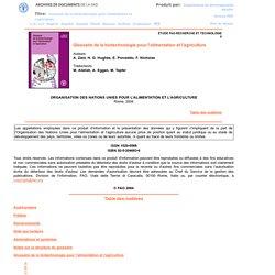 Glossaire de la biotechnologie pour l'alimentation et l'agriculture