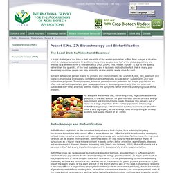 Biotechnology and Biofortification - Pocket K