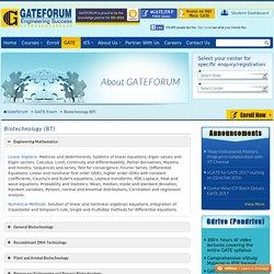 Syllabus for Biotechnology (BT) in GATE - GATEFORUM