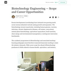 Biotechnology Engineering — Scope and Career Opportunities
