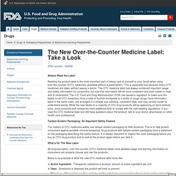 Bioterrorism and Drug Preparedness > The New Over-the-Counter Medicine Label: Take a Look