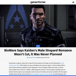 BioWare Says Kaidan's Male Shepard Romance Wasn't Cut, It Was Never Planned
