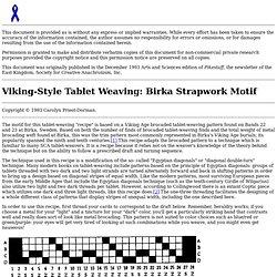 Birka-Style Tablet Weaving Recipe