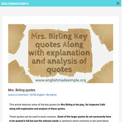 Mrs Birling Quotes with explanation and analysis - English Made Simple