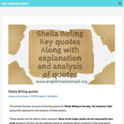 Sheila Birling Quotes with explanation and analysis - English Made Simple