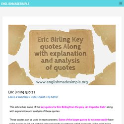 50+ Eric Birling Key Quotes with explanation and analysis