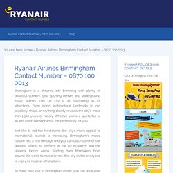 Ryanair Airlines Birmingham Contact Number – 0870 100 0013
