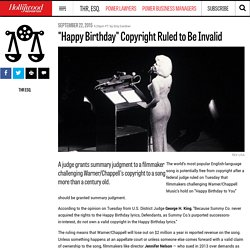 """Happy Birthday"" Copyright Ruled to Be Invalid"