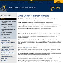 2016 Queen's Birthday Honours » Auckland Grammar School