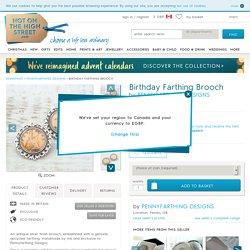 birthday farthing brooch by pennyfarthing designs